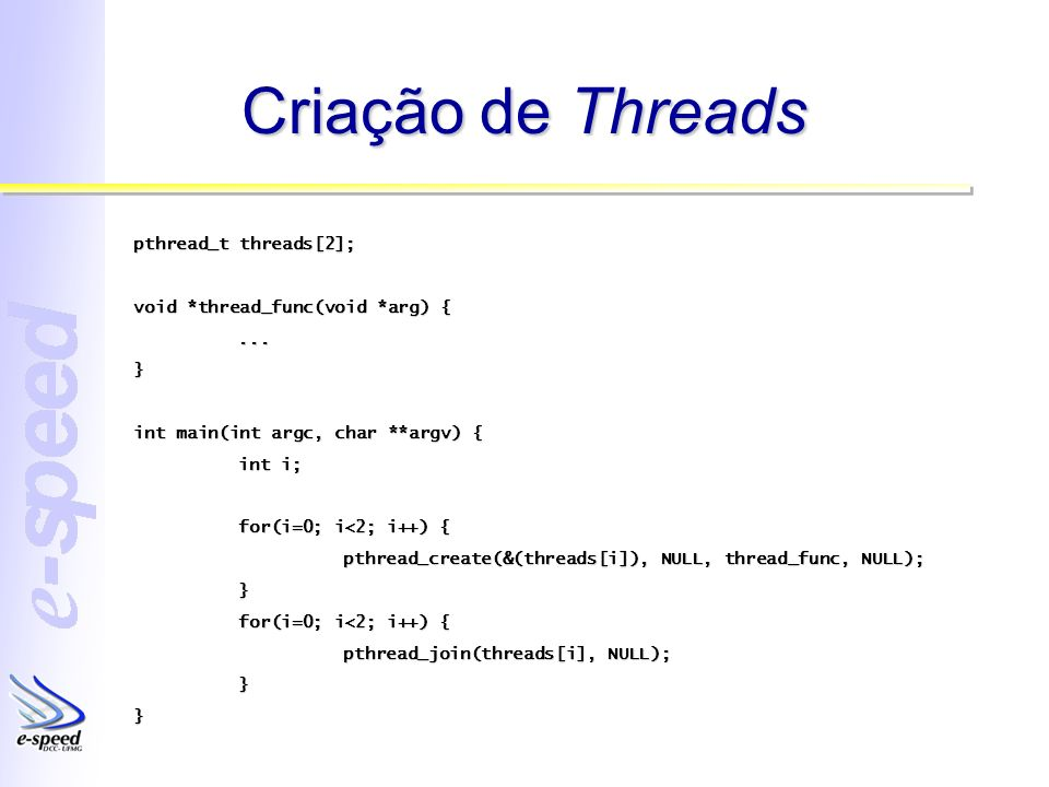 Criação de Threads pthread_t threads[2];